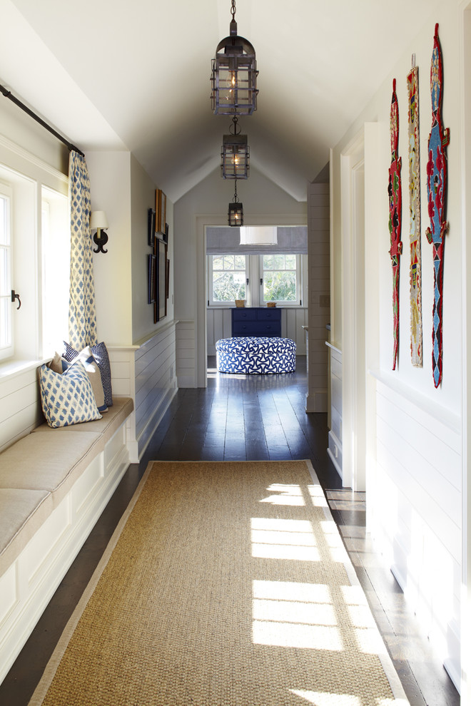 Hallway Rugs Hall Beach with Batch House Beadboard Curtain Dark Wood Floor Lantern Neutral Colors Ottoman Sisal