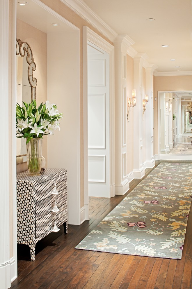 Hallway Rugs Hall Traditional with Ceiling Lights Cream Crown Molding Dresser Earth Tones Grass Cloth Wallpaper Mirrored