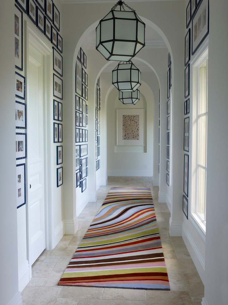Hallway Rugs Hall Transitional with Bright Cheerful Colorful Rug Runner Gallery Wall Gallery Walls Graphic Rug Hall