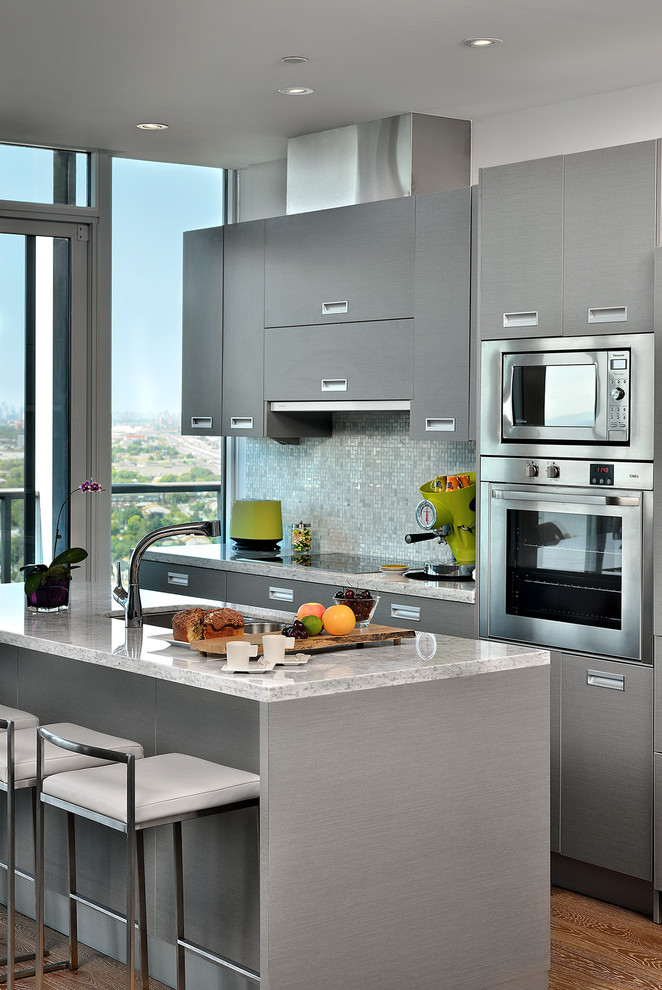 Hamilton Beach Toaster Kitchen Contemporary with Condo Living Cooktop Floor to Ceiling Windows Gray Cabinets Gray Countertop Gray Drawers Gray