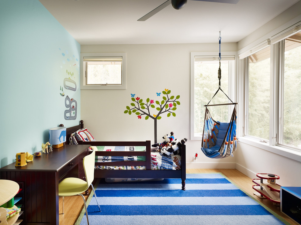 Hammock Chair Kids Contemporary with Beige Molding Beige Wall Beige Window Trim Blue Striped Rug Car Wall
