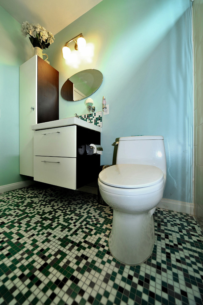 Hammock Chairs Bathroom Modern with Mosaic Floor Tot Toilet White and Wood Cabinetry