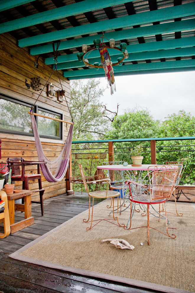 Hammock Chairs Deck Eclectic with Aqua Beams Chandelier Hammock Indoor Outdoor Metal Chairs Potted Plants Railing Round