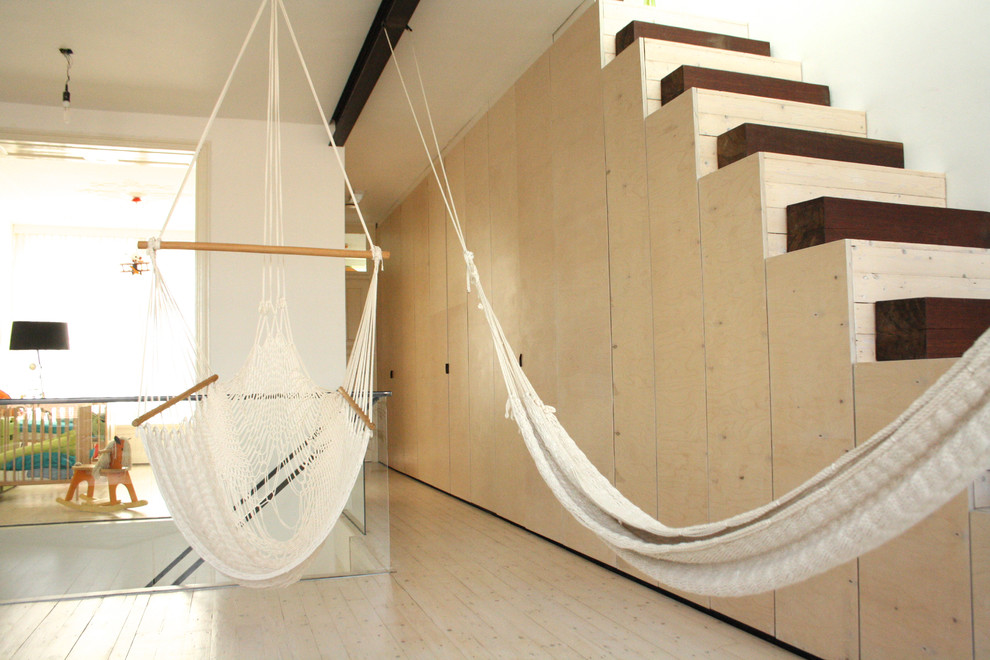 hammock chairs Hall Modern with birch hammocks neutral colors Staircase stairs white walls wood floors