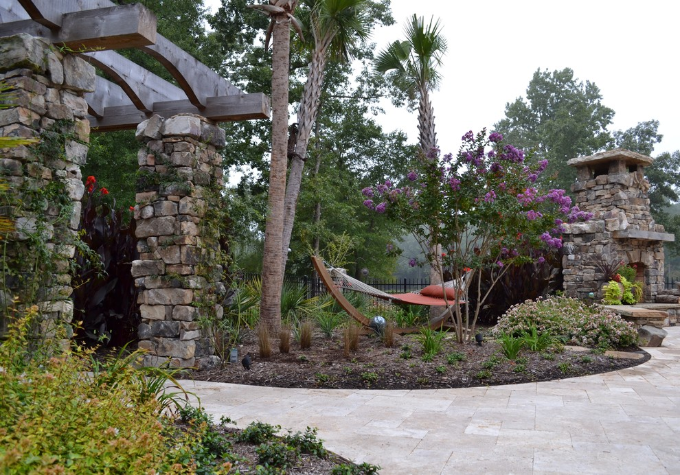 Hammock Stands Patio Eclectic with Berm Fireplace Hammock Hearth Mantel Palm Trees Path Pavers Pergola Stonework Timbers
