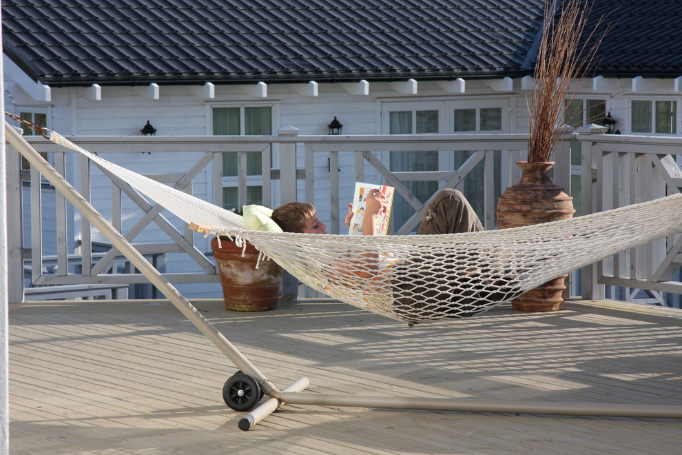 Hammock with Stand Deck Traditional with Container Plants Deck Hammock Handrail Neutral Colors Patio Furniture Potted Plants Terracotta