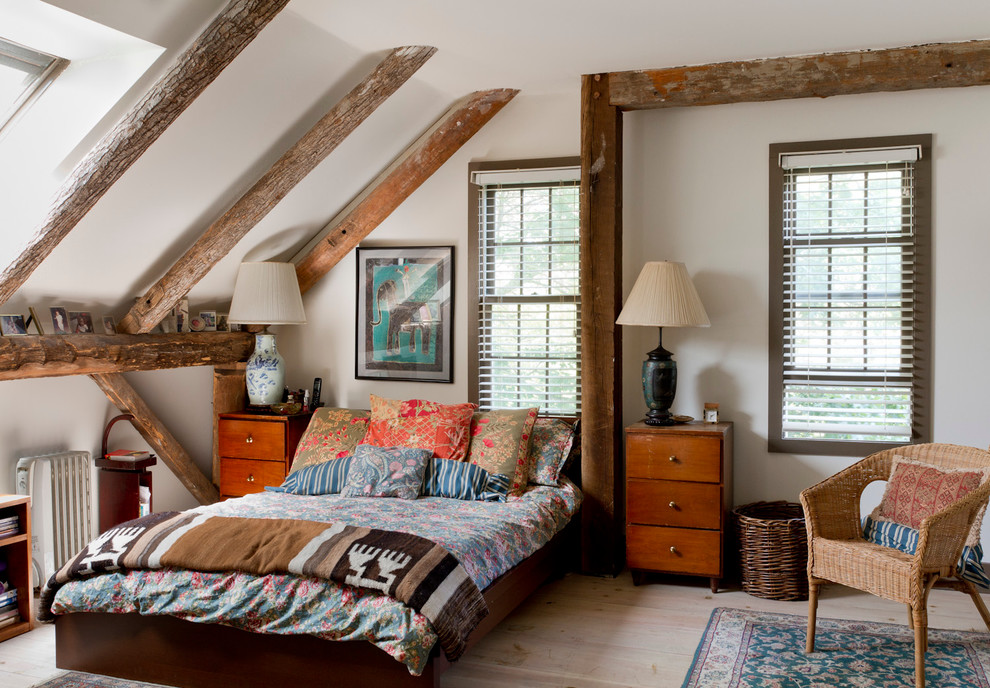 hampton hill bedding Bedroom Eclectic with Eclectic exposed beams rough hewn wood skylight sloped ceiling ventian blinds wicker