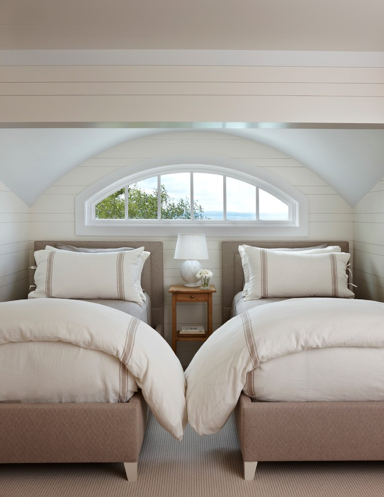 Hampton Hill Bedding Bedroom Traditional with Arch Window Barrel Ceiling Bed Carpeting Cottage Double Beds Muntins Neutral Colors