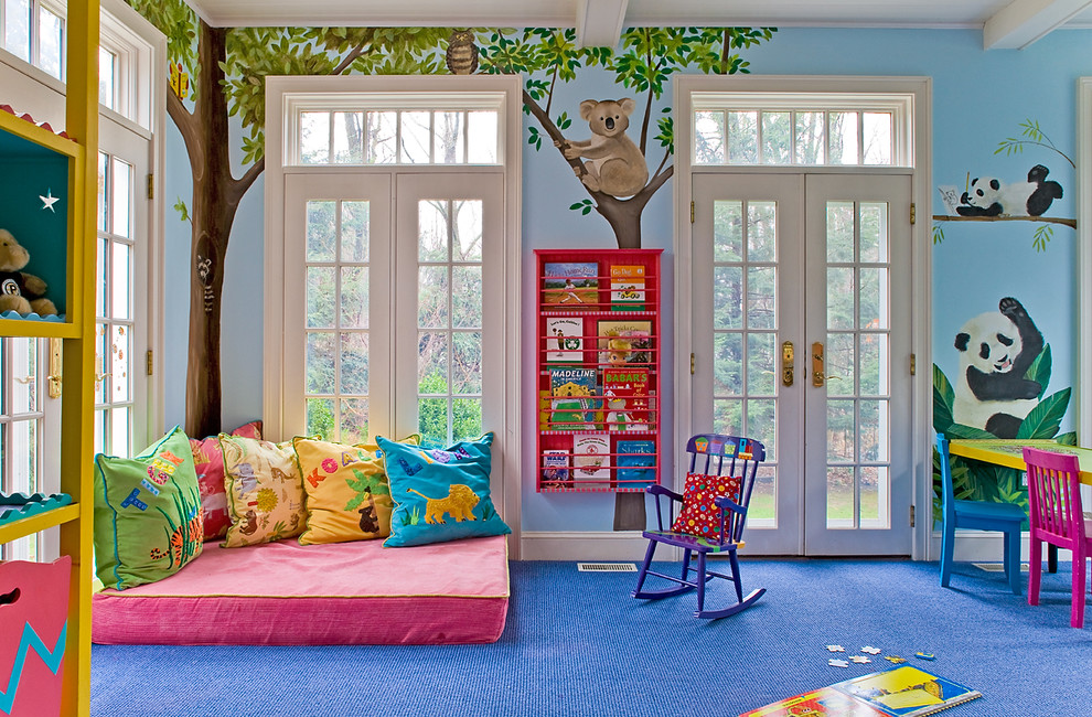 Hanging Bookshelf Kids Traditional with Blue Carpet Blue Walls Bookshelves Colorful French Doors Kids Furniture Playroom Transom