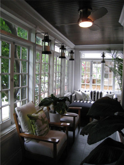 Hanging Candle Lanterns Porch Eclectic with Exposed Brick French Windows Patio Porch Sun Porch Sun Room Sunroom Victorian