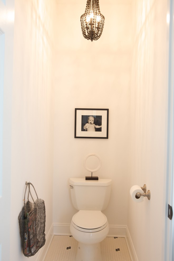 Hanging Garment Bag Powder Room Contemporary with Baseboards Black and White Chandelier Floor Tile Design Hexagon Tile Minimal Monochromatic
