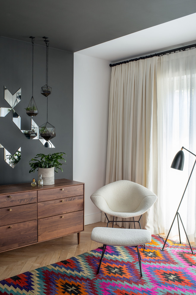 Hanging Planter Bedroom Contemporary with Accent Wall Bright Rug Charcoal Floor Lamp Graphic Gray Walls Hanging Terrariums