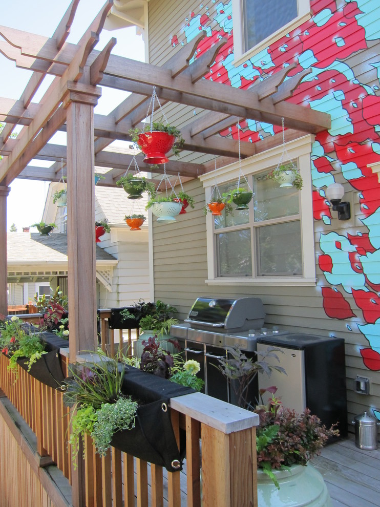 Hanging Planter Deck Eclectic with Annuals Artist Clouds Colanders Deck Grill Hanging Garden Hanging Planters Herbs Klutch