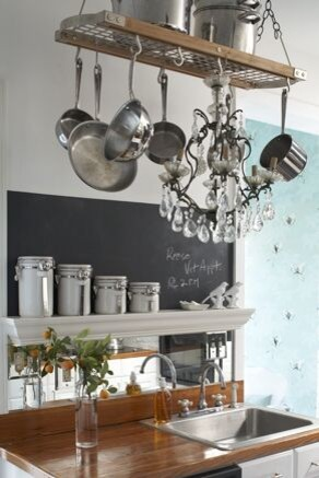 Hanging Pot Rack Kitchen Contemporary with None
