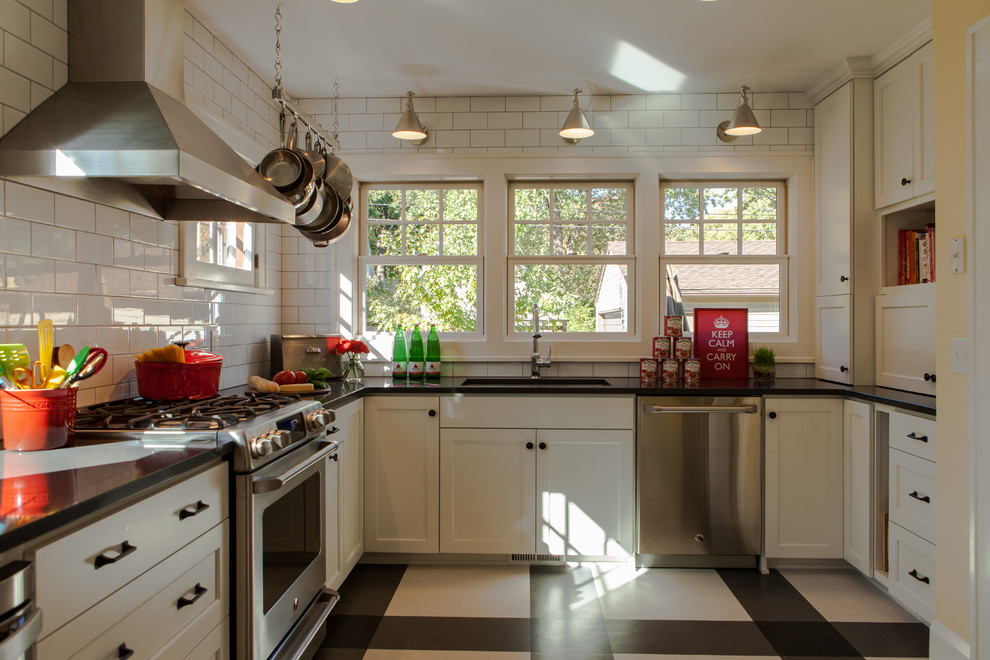 Hanging Pot Rack Kitchen Transitional with Beige and Black Floor Beige and Black Patterned Floor Black Countertop Floor