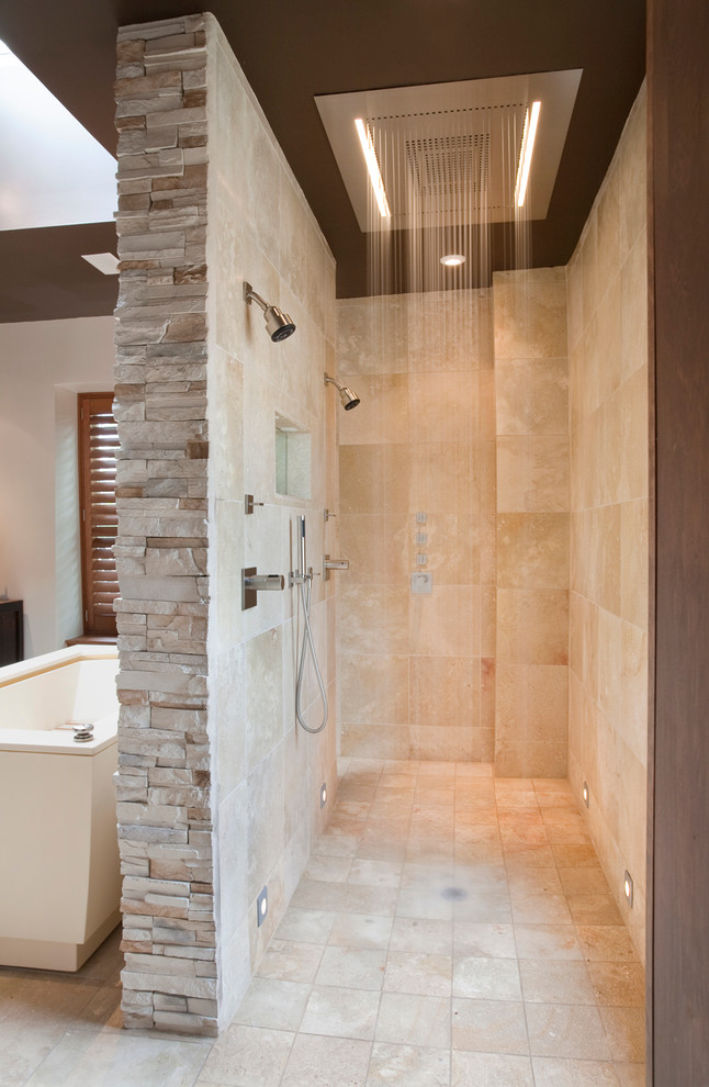 Hansgrohe Parts Bathroom Contemporary with Beige Stone Wall Double Shower Handheld Shower Head Multiple Shower Head Open