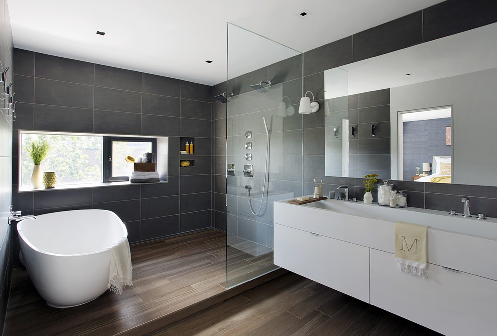 Hansgrohe Parts Bathroom Contemporary with Double Faucet Trough Sink Double Shower Edge Pulls Floor to Ceiling Gray