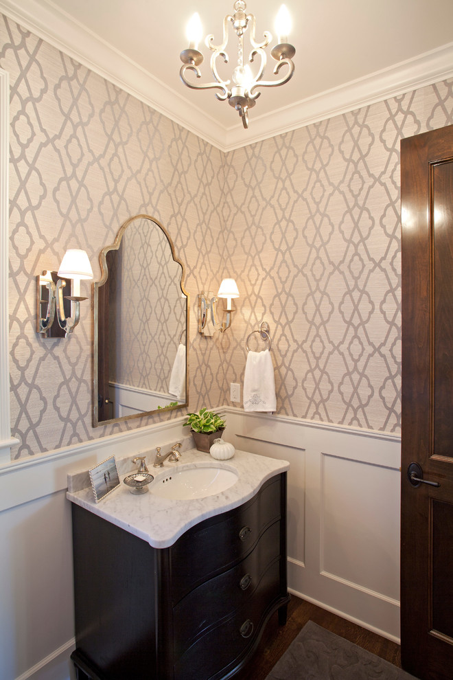 Hayworth Collection Bathroom Farmhouse with Chandelier Curved Cabinet Front Moroccan Mirror Wall Sconces Wallpaper White Countertop White