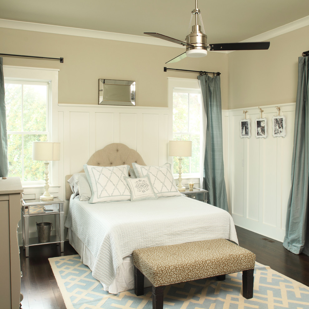 Hayworth Collection Bedroom Transitional with Ceiling Fan Dark Wood Floor End of Bed Bench High Wainscoting Light