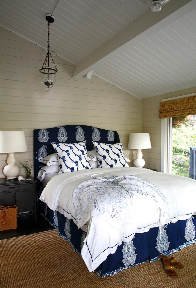Headboard Queen Bedroom Beach with Beadboard Ceiling Blue and White Bedding Blue Bedskirt Glass Pendant Light Paneled
