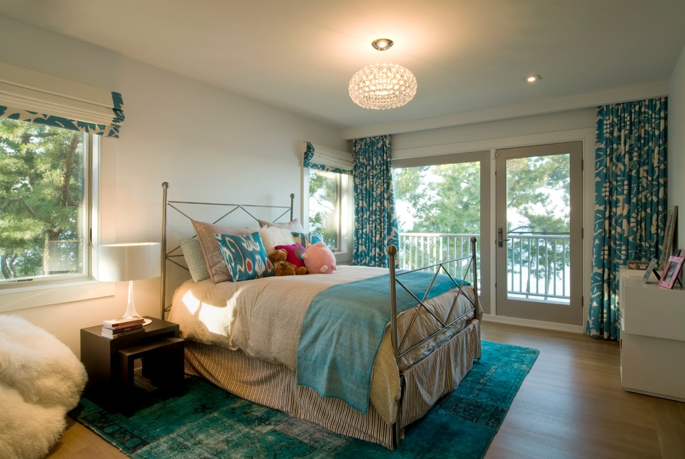 Headboard Queen Bedroom Beach with Beige Duvet Cover Ceiling Light Drum Shade Floral Drapes Light Wood Floor