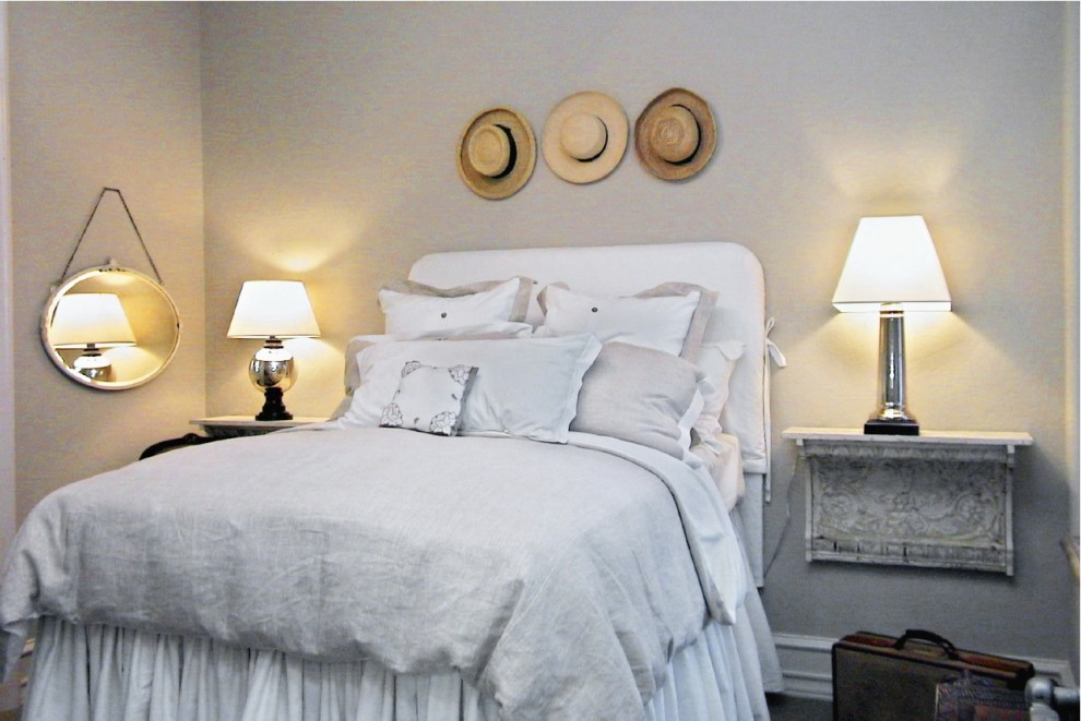 Headboard Slipcover Bedroom Eclectic with White Upholstered Headboard 1