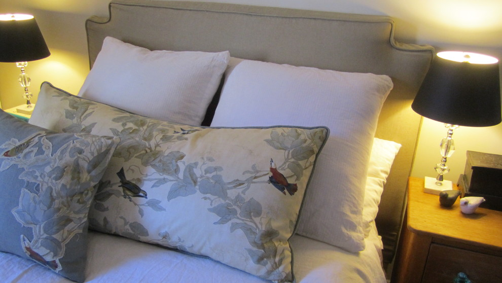 Headboard Slipcover Spaces Contemporary with Custom Bedskirt Custom Headboard Slipcover Custom Pillows Custom Overscale Lumbar Vintage Boudoir1