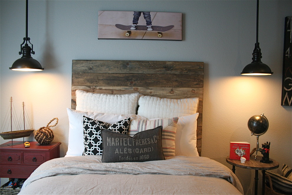 Headboards for Queen Beds Kids Traditional with Accent Wall Accent Wall Barn Wood Barnwood Barn Wood Barnwood Bedroom Boys