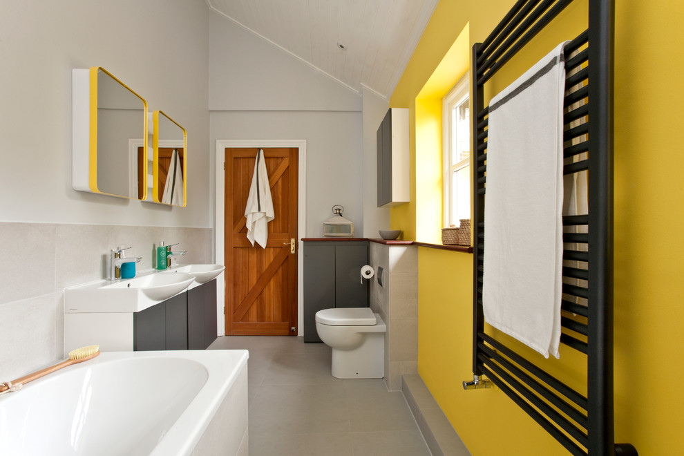 Heated Throws Bathroom Contemporary with Cube Wall Lights Double Ended Bath Double Vanity Double Vanity Unit Medicine