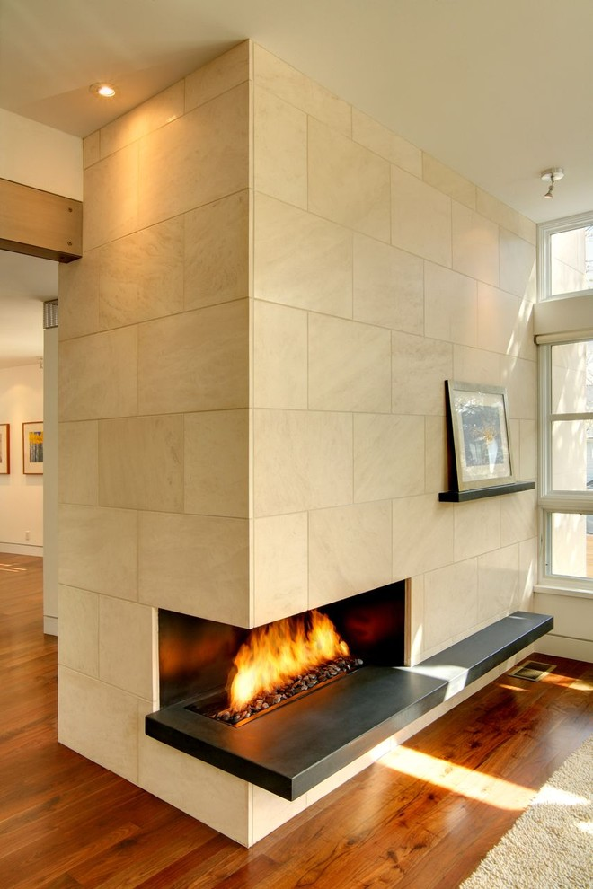 heated throws Family Room Modern with concrete corner modern Tile warm