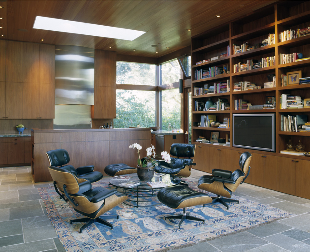 Heated Throws Kitchen Modern with Area Rug Built in Bookshelves Circular Coffee Table Floor to Ceiling Windows Glass Coffee Table