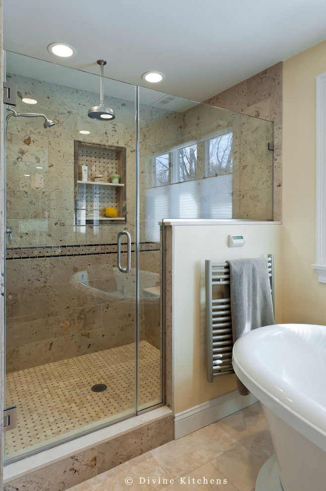 Heated Towel Rack Bathroom Traditional With Air Tub Basket Weave Floor Glass Shower Door Half