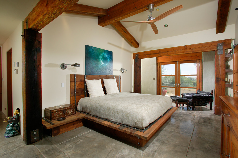 Heavy Duty Bed Frame Bedroom Farmhouse with Bedside Table Ceiling Fan Concrete Floors Custom Platform Bed Exposed Beams French