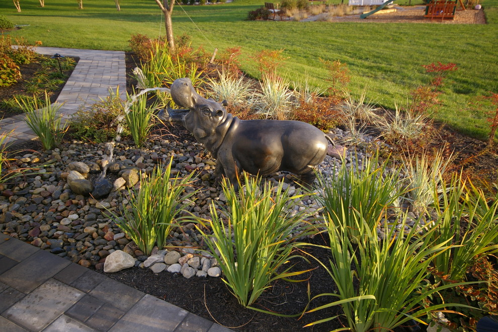 Henri Fountains Landscape Contemporary with Bar Seating Bucks County Concrete Pavers Doylestown Ep Henry Fountain Granite Landscape