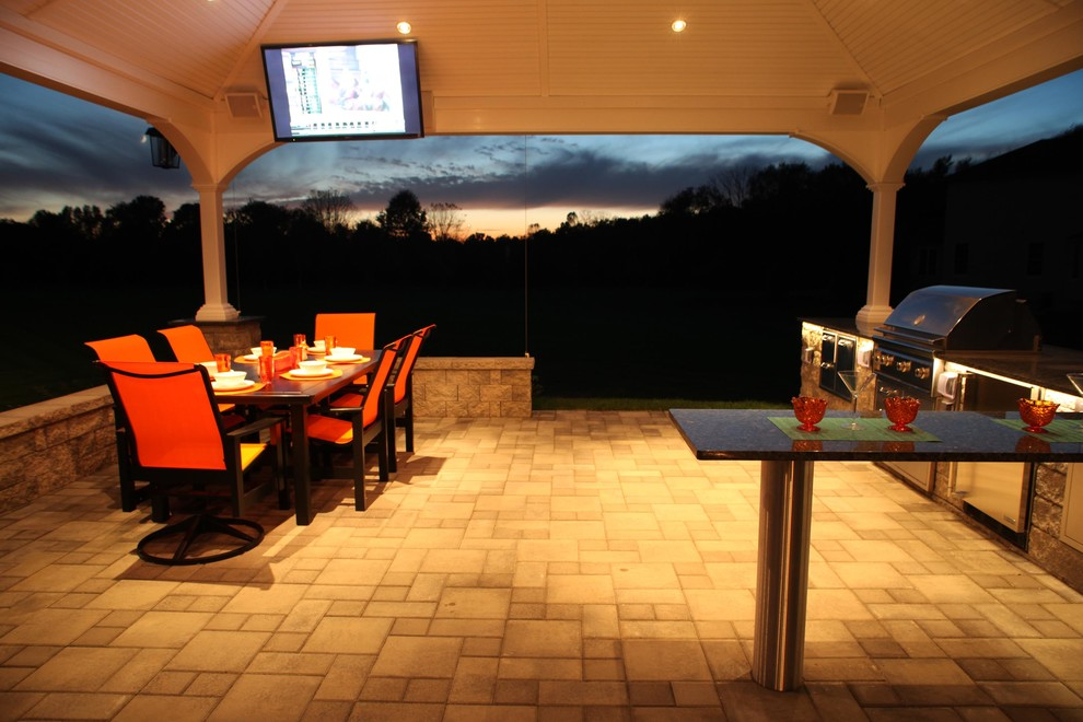 Henri Fountains Patio Contemporary with Bar Seating Bucks County Concrete Pavers Doylestown Ep Henry Fountain Granite Landscape3