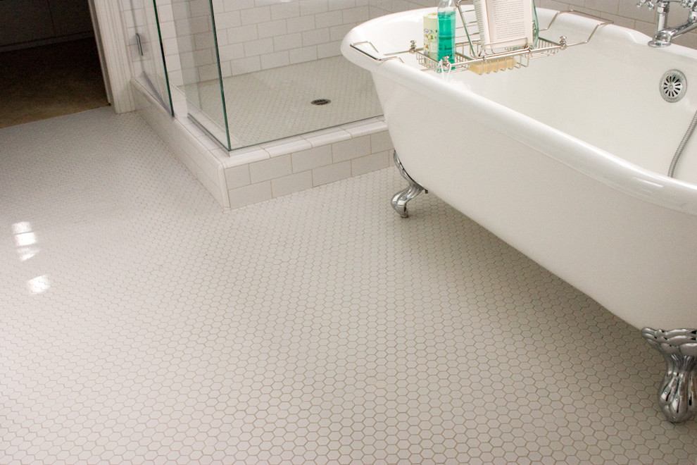 Hex Tile Bathroom Traditional with Classic Design Hex Mosaic Mosaics Traditional Bathroom White Bathroom White Hex Tile