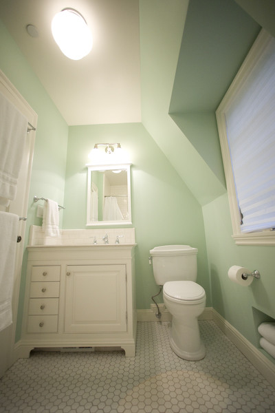 hex tile Bathroom Traditional with none