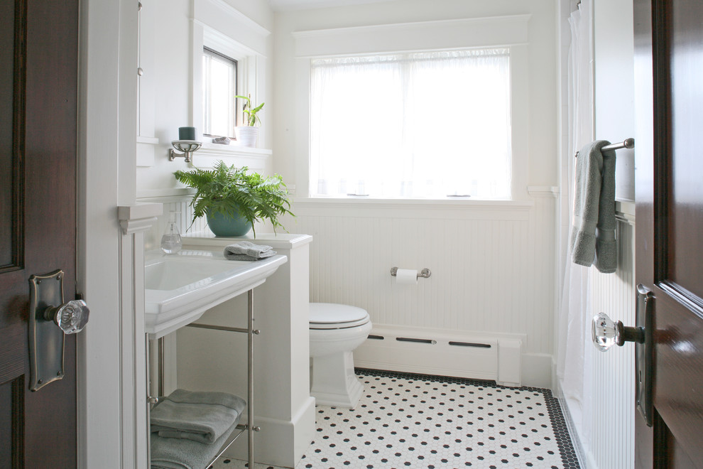 Hexagon Floor Tile Bathroom Craftsman with 1920 1930 Beadboard Black and White Classic Craftsman Floor Tiles Guest Bath