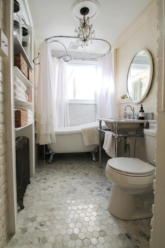 Hexagon Floor Tile Bathroom Eclectic with My Houzz