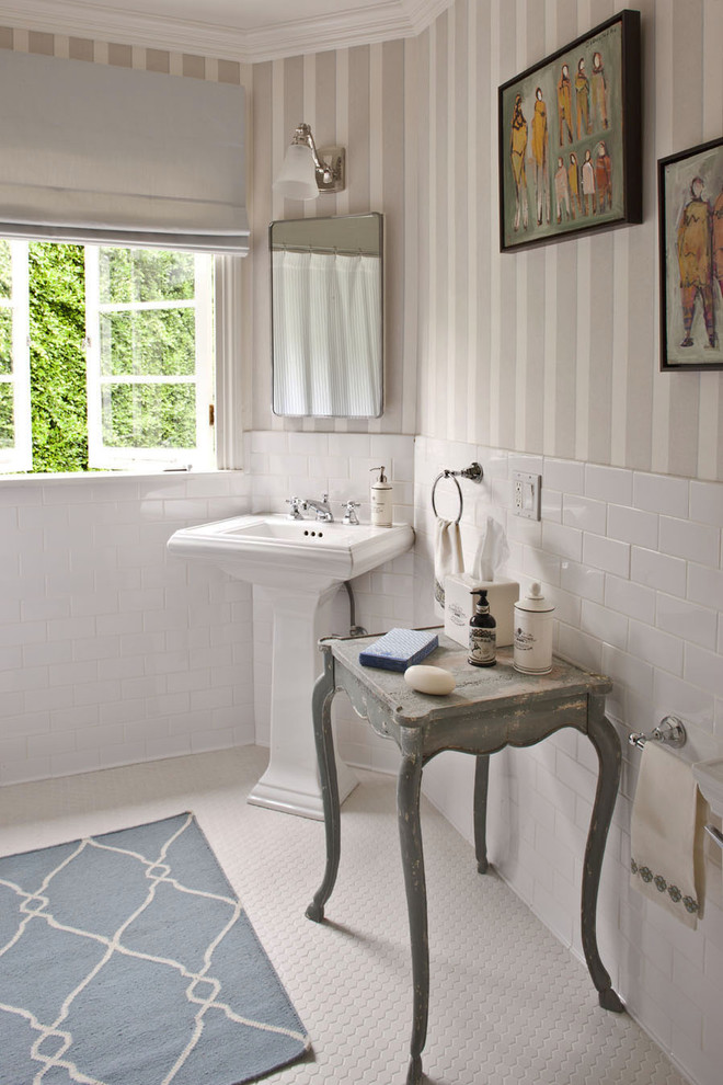 Hexagon Floor Tile Bathroom Traditional with Bath Mat Bathroom Mirror Bathroom Table Casement Windows Corner Sink Feminine Mosaic