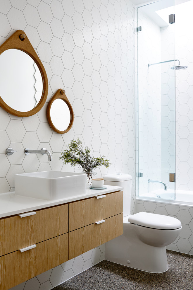 Hexagon Tile Bathroom Contemporary with Floating Vanity Geometric Round Wall Mirrors Skylight Tile Wall