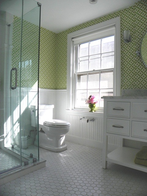 Hexagon Tile Bathroom Traditional with Beadboard Blast of Color Brackets Bright Charming Chrome Clawfoot Daughter Drawers Easy
