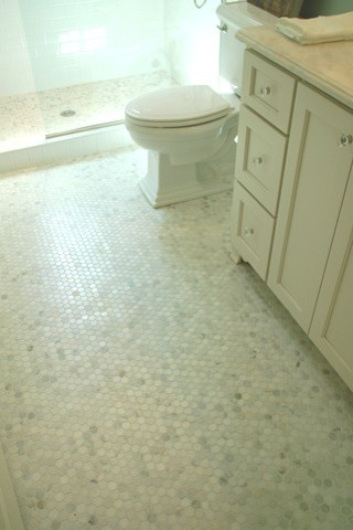 Hexagon Tile Bathroom Traditional with None