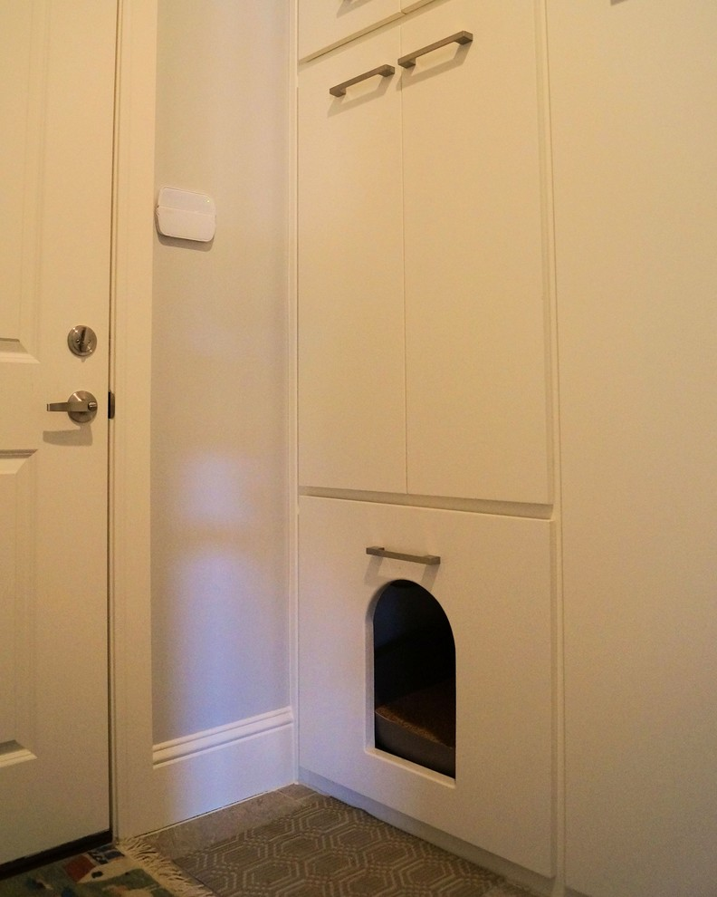 hidden cat litter box Spaces Modern with animal cat clean contemporary custom dog Home idea Kitty lines modern myers