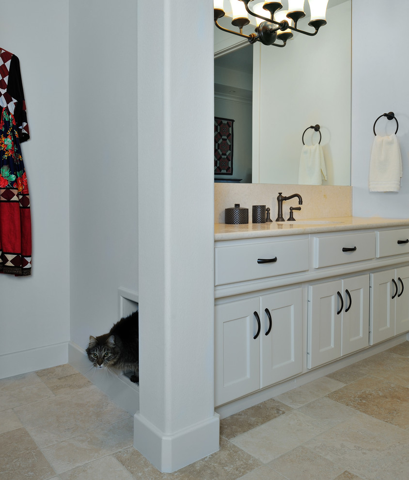 Hidden Litter Box Bathroom Mediterranean with Kitty Litter Box Limestone