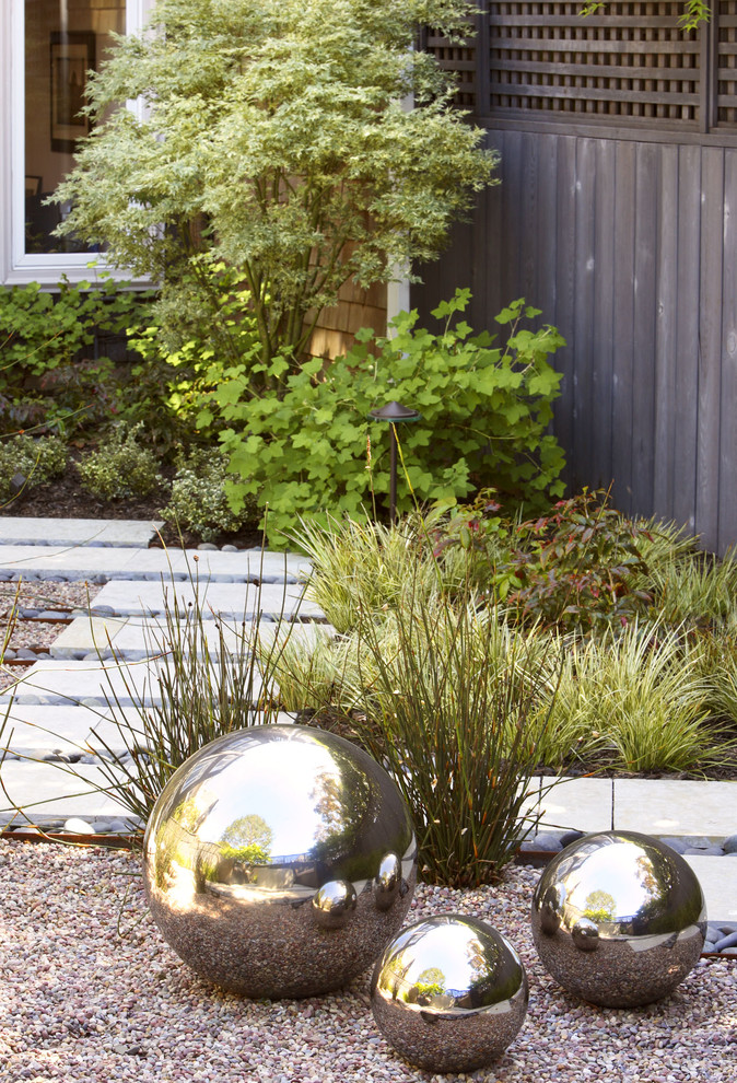 High Ball Glass Landscape Contemporary with Concrete Contemporary Contemporary Silver Balls Gravel Mirror Modern Outdoor Lighting Path Paver