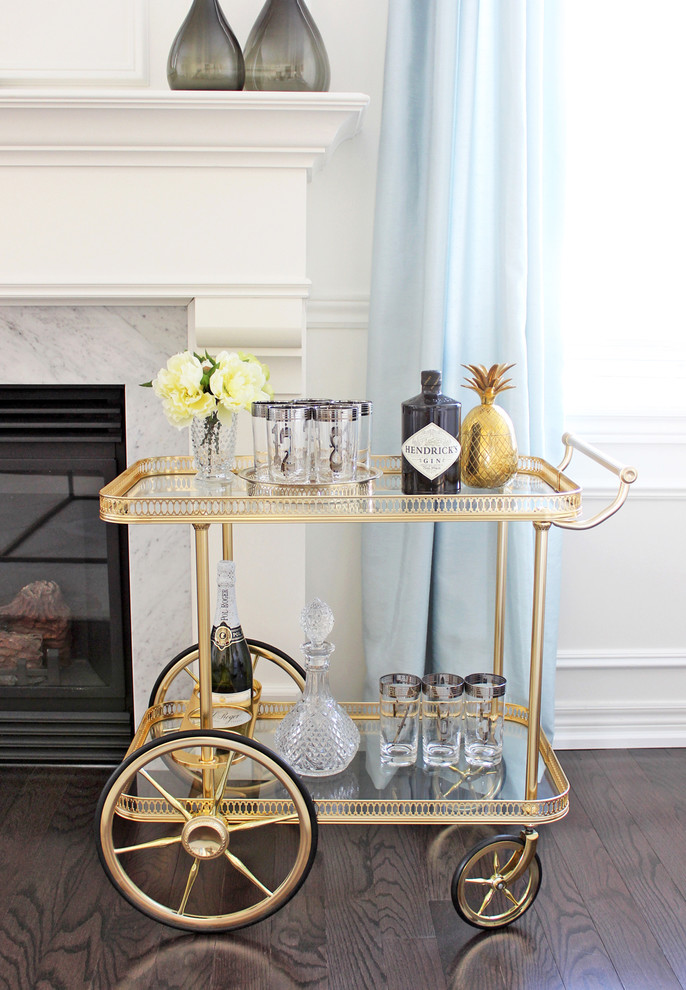 highball glass Spaces Contemporary with AM Dolce Vita Vintage Bar Cart Styling brass pineapple ice bucket Maison