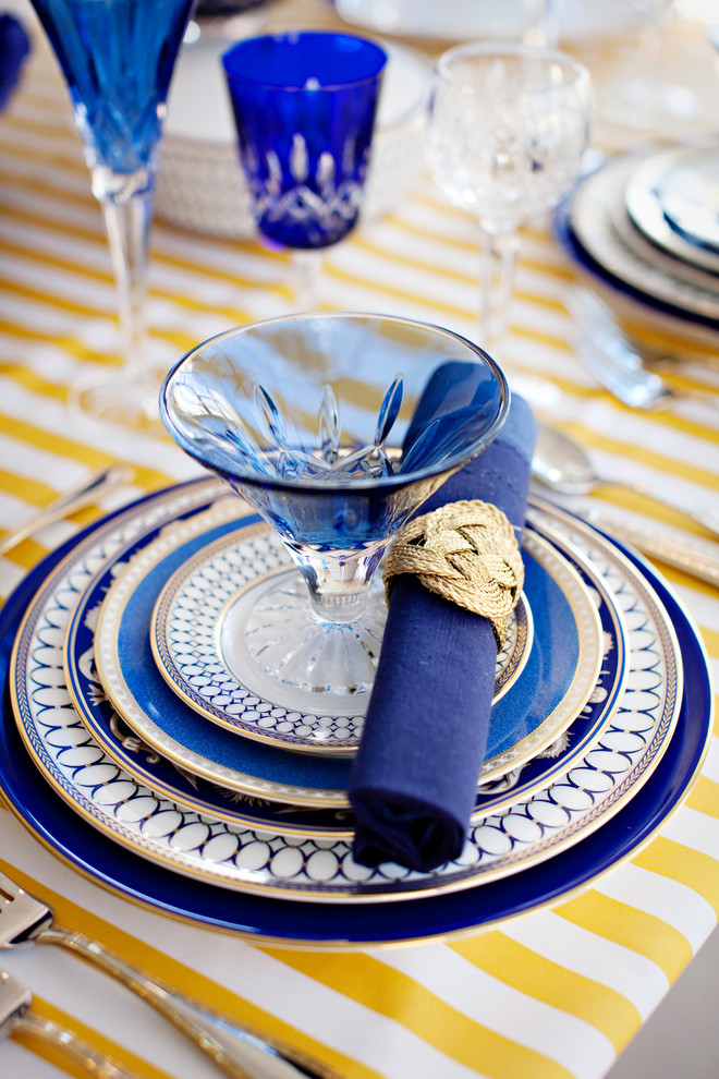 highball glasses Dining Room Traditional with blue blue glass china crystal floral gold napkin ring place setting purple