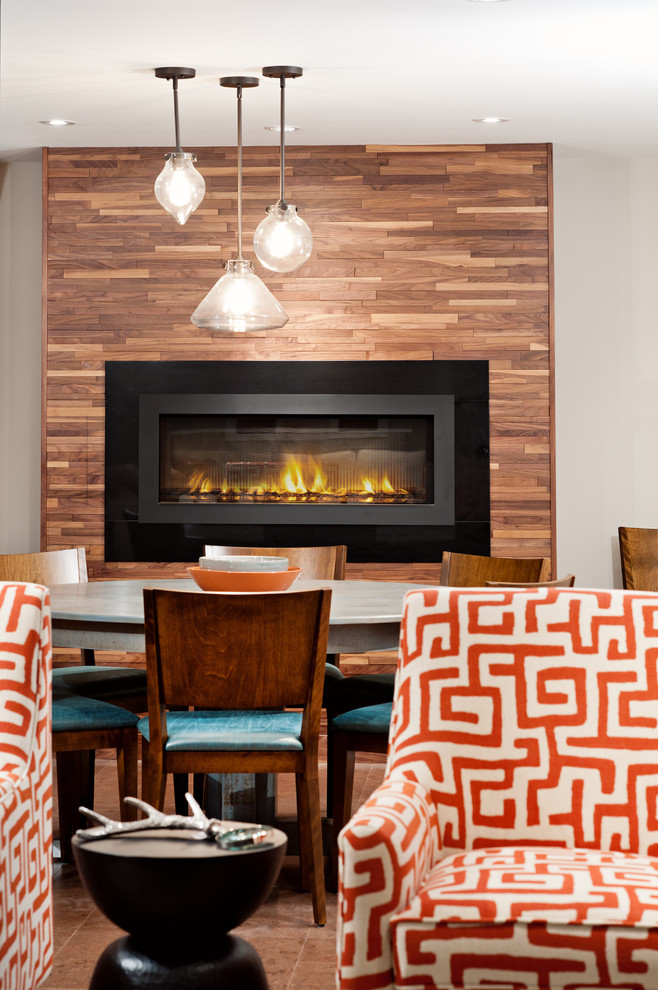 hinkley lighting Basement Contemporary with gas fireplace hole in the wall fireplace Raised Fireplace red and white