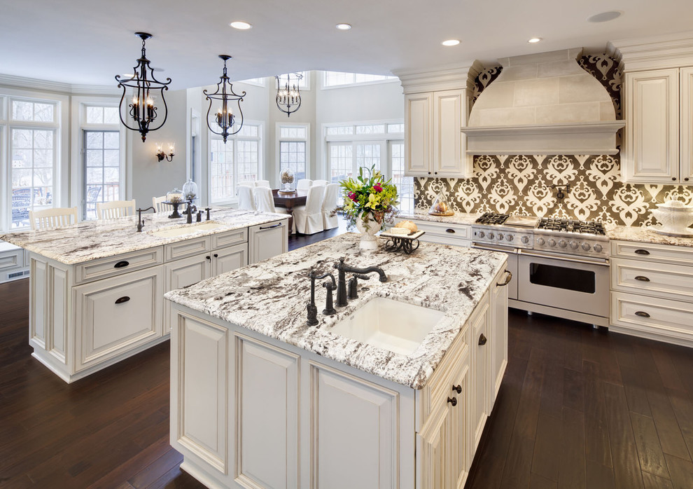 Hinkley Lighting Kitchen Traditional with Accent Tiles Breakfast Bar Ceiling Lighting Dark Floor Double Islands Eat In